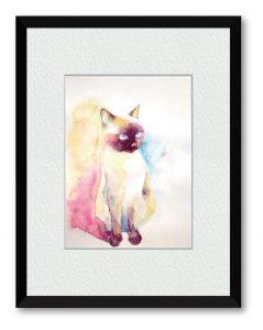 Fuuu_sさん「佇む猫」(B5) 陽の当たる窓辺に佇むシャム猫 1日も早くいつもの日常に戻ることを願って