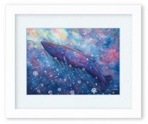 浅野なつきさん「クジラの夢」(F4) クジラを描きたくて、海のような空のような。そんなイメージで描きました。