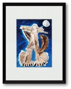 ms.WOLFさん「月と狼」(B5) 狼を好きになったのは子供の頃にクリスマス・ツリーという映画を観てからだ。僕の守り神。オオカミ。
