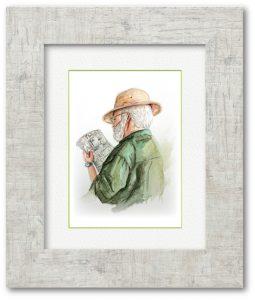e_ kakuyoさん 「シリウスおじさん」 F4サイズ 美術館で冒険家のような姿をしていたおじさんの後ろ姿に、心奪われ絵のモデルさんにしました。