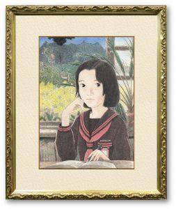 秋元なおとさん「木造校舎202004」(F4) 中学の頃過ごした木造校舎とその日々をたぐって、大切な時間を描きとめようとしました。