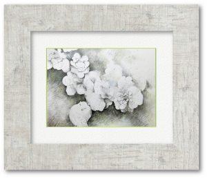 """松本いづみさん「""""咲いてる""""」(F4)部屋に生けていたシャクヤクの蕾が、咲かずに落ちた音がとても小さくて、絵にしたいと思いました。"""