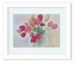 牧野瑠璃子さん「博愛」(F4)コロッとした可愛らしい形の鮮やかな色のチューリップ。心に元気を届けてくれたらと思って描きました。
