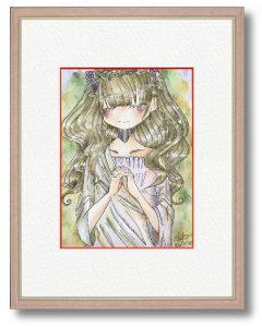 渡瀬千華さん「優しい祈り」(B5) あたたかい日射しの中で祈る優しい女の子を描きました。世界がたくさんの優しいで溢れますように。