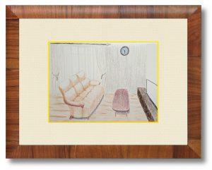 TAKAさん「Favorite place」(B5)自分の好きな空間をあえて無機質的に描き、哀愁を出すことで安らかな空間を表現しました。