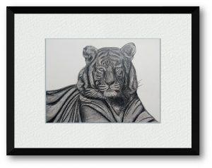 R.Mさん「不動心」(B5)こんな時だから他によって動かせれることのない心を堂々とした虎の姿で表現しました。