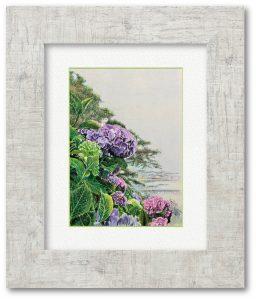 大原正稔さん「宿雨に咲く」(F4)少しでも前向きな気持ちを表現したくて、紫陽花を描きました。悪天候だから咲く花があります。