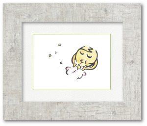 伊藤文子さん「お月様」(F4)絵本の1ページとして制作しました。月の隣にいる星を流れ星として地上に届けようとしている様です。