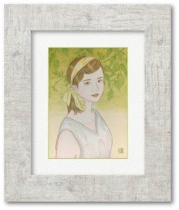 野沢栄子さん「緑草‐ryokusou‐」(F4) 若葉が芽吹き、生命力に溢れた季節を生きる女性を描きました。