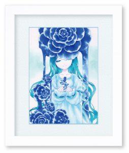 カズラエンジさん「青薔薇」(F4)「平穏」「落ち着き」を連想させる青色をメインにして絵を描きたいと思い、こちらが出来上がりました。