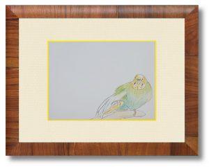 遠藤嫁さん「旦那より綺麗に描いたインコ」(B5) 隣で旦那が涙目で描いてたので私も何か描いてみようと思い応募しました。