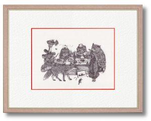 izumiさん「弁当会議」(B5) 日々の一場面をコミカルに動物で再現しました。