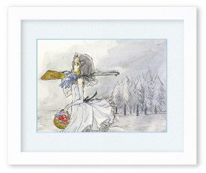 おとぼけお姉さん「雪原の黒ずきん」(F4)どんな逆境でも凛と前向きに生きる女の子をイメージしました。