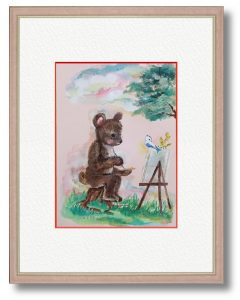 cotoriさん「スケッチ」(B5)自由に外出できない中、制作をすることが心の支えとなっているので、絵を描く楽しさを表現しました。