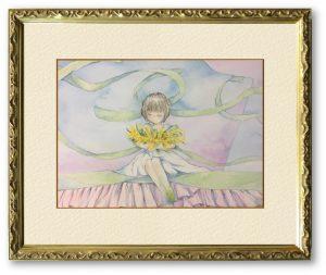 しらすさん「花束」(F4)「感謝」の花言葉があるミモザの花束を包み込むイメージで描きました。