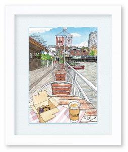 茶木義隆さん「CANAL CAFE」(F4)いつも混んでいるカフェ、朝一番ちょうど桜の時期直前を選んで描きに行きました