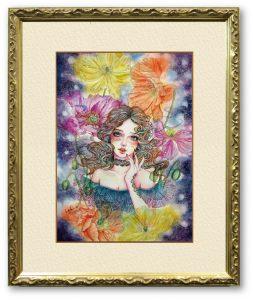 星響子さん「禁断の夢」(F4)美しいアンティークゴールドの額装に映える作品を…と考え、制作しました。