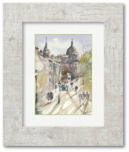 川村省吾さん「サクレクールへの坂道」(F4)パリでスケッチして来た一枚です。その時の現地の空気感とライブ感を大切に描きました。