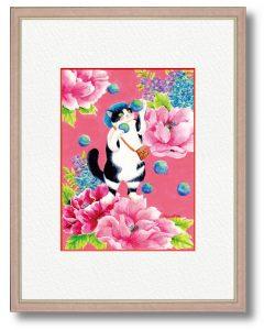Naoka714さん「花と猫」(B5) 外出自粛の毎日、少しでも彩りを添えたくて華やかな作品にしました。