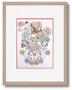 C.Yさん「花と動物たち」(B5)動物の赤ちゃんの写真を見て、和んだので描きました。