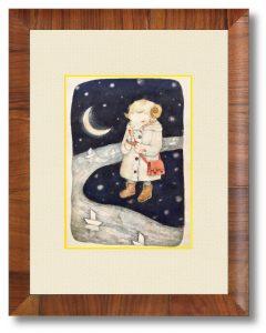 マダナイさん「天の川のほとり」(B5)目を瞑り黙祷する半人半獣の子どもを描きました。