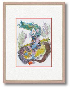エンドロッコさん「アマビエ」(B5)何事にも動じない、悪いモノも物ともしない強さを持つ私なりの「アマビエ」を描きました。