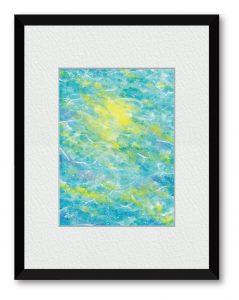有森しずくさん「波間の光」(B5) 色を滲ませ重ねていくうちに、波間と光が見えてきました。