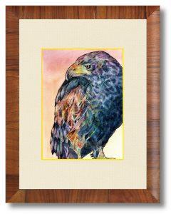 蕎麦殻のお傍にさん「空を見る鷹」(B5)夕焼けの雰囲気を感じとってください