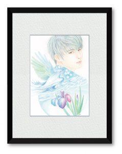 むーみんさん「水が見る夢」(B5)水の流れに映る景色を夢に見たら不思議な世界が流れていくだろ。そんな空想から生まれたイメージを描いた。