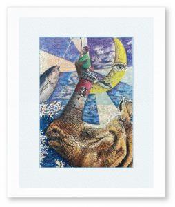 三橋編弓さん「犀の角のように」(F4)「犀の角のように~」からイメージし描きました。孤独も悪い事ばかりでは無いのかなと。