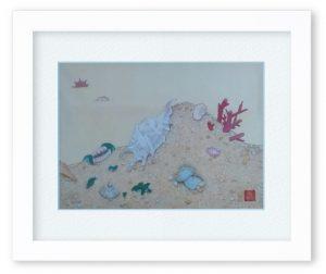 くろせかおりさん「貝の夢」(F4)砂浜に集結した貝は、それぞれ夢をみています。