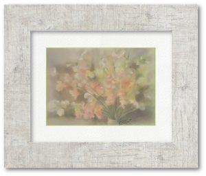 牧野瑠璃子さん「心やすめて」(F4)フリルのような可憐な花びらのスイートピー。疲れ気味な心に安らぎを届けてくれたらと思って描きました。