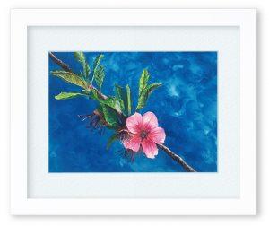 ogatapaintさん「アーモンドの花」(F4)青い空に赤いアーモンドの花。お互いそれぞれ存在を主張し合うような作品を目指しました。