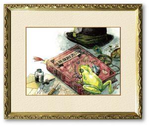 ¥0sukeヨースケ×F.しっぽさん「祖への回顧」(F4)とある冒険家の自宅の書斎で暮らす1匹のカエル。自分は何者で、どこから来たんだろう。