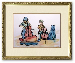 Kakuyoさん「Street musician」(F4)路上でチェロ演奏する絵になる演奏者達。