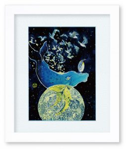 満月雫月さん『星月夜に染まる』(F4)賑やかな夜空と海の生き物たちを描きました。