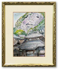 足立洋一さん「生駒市宝山寺にて」(F4)お線香の香りに包まれながら、解脱して描きました。