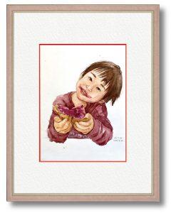 なここさん「おいしいね」(B5)ジャムパンが大好きな息子の満足そうな顔を描きました。