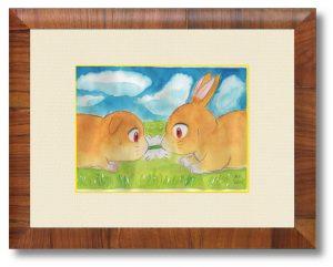 広瀬みつこさん「この後、どうなるでしょう?」(B5)京都市動物園で観たウサギかテンジクネズミのもう少し真面目な水彩画を描こうと思いましたが、なぜかこうな