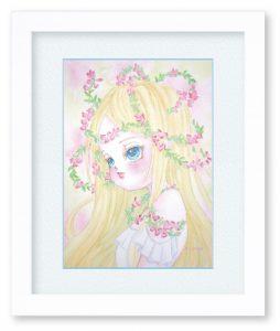 花滝ちかるさん「あこがれ」(F4) 初恋とも気付かない少女の心を、表情と花で表現しました。