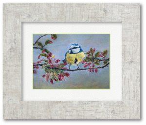 なおこさん「春の訪れ」(F4)春が来たよろこびを表したくて、鮮やかな色の鳥を描きました。