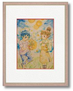オレンジコメットさん「dandelion 太陽を君に。」(B5)太陽をテーマに、あたたかいイラストになるように描きました。ぽかぽかの気持ちが届きますように。