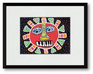 カミジョウミカさん「タイヨウとオンガクがわらう」(B5)この作品は人間を心を明るく照らすタイヨウと人間の心を楽しませるオンガクを合体させた作品です。