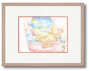 とりすみさとさん「たのしいおふろ時間」(B5)みんなが楽しく過ごせる願いを込めてほっこりお風呂に入っているところを描きました。