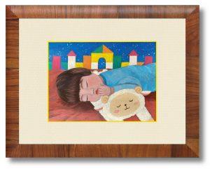 risaさん「in his room」(B5)2歳の息子が、部屋の中にいても夢の中と想像の広い世界で遊んでいたら面白いと思って描きました。