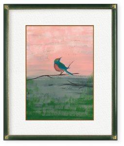 松本さん「stand alone」(F4)コロナ禍の折、孤独と向き合う鳥を描きました。