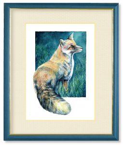 Minoriさん「森の窓」(F4)キツネは古来より実りを運ぶ動物とされ、実りと共に森の窓から風や空気、草木の香りを運んでくれます。