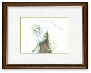 ねねさん「lost」(B5)いつも見上げていた大きな木が危険だからと伐採され、切り株だけになった姿を見て描きました