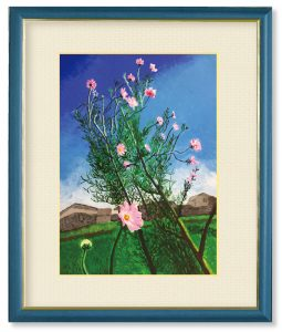 レ昇るさん「秋桜」(F4)台風一過で一気に秋の気配が濃くなってきたある日の青空に映える秋桜を描いてみたかったのです。