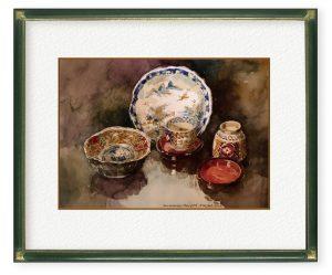 日下義彦さん「静物」(F4)陶器、漆器の質感を出したかった。